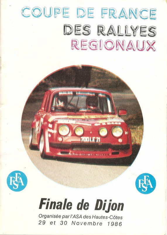 29 ET 30 NOVEMBRE 1986 - COUPE DE FRANCE DES RALLYES REGIONAUX - FINALE DE DIJON (21)