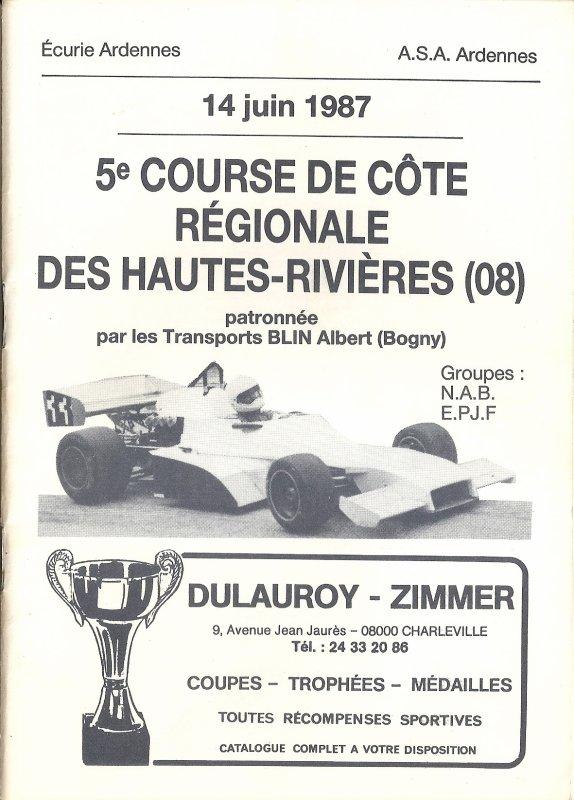 14 JUIN 1987 - 5ème COURSE DE COTE DES HAUTES-RIVIERES (08)