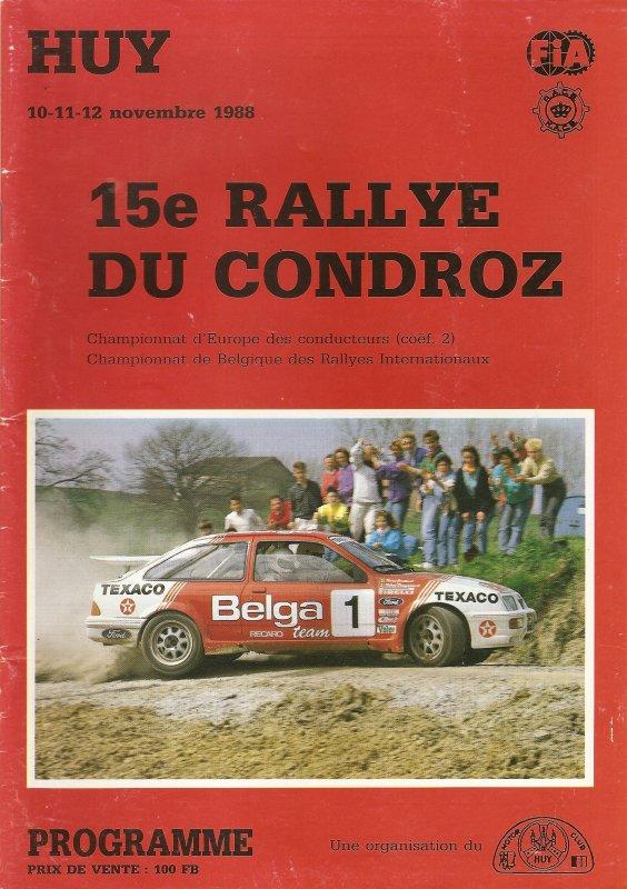 10 AU 12 NOVEMBRE 1988 - 15ème RALLYE DU CONDROZ (BELGIQUE)