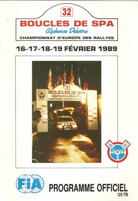 16 AU 19 FEVRIER 1989 - 32èmes BOUCLES DE SPA (BELGIQUE)
