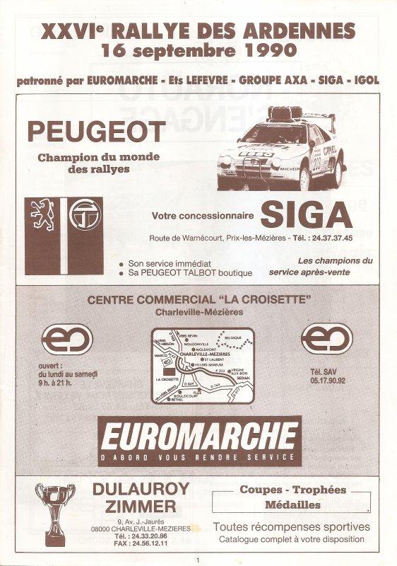 16 SEPTEMBRE 1990 - 26ème RALLYE DES ARDENNES (08)