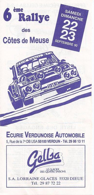 22 ET 23 SEPTEMBRE 1990 - 6ème RALLYE DES COTES DE MEUSE (55)