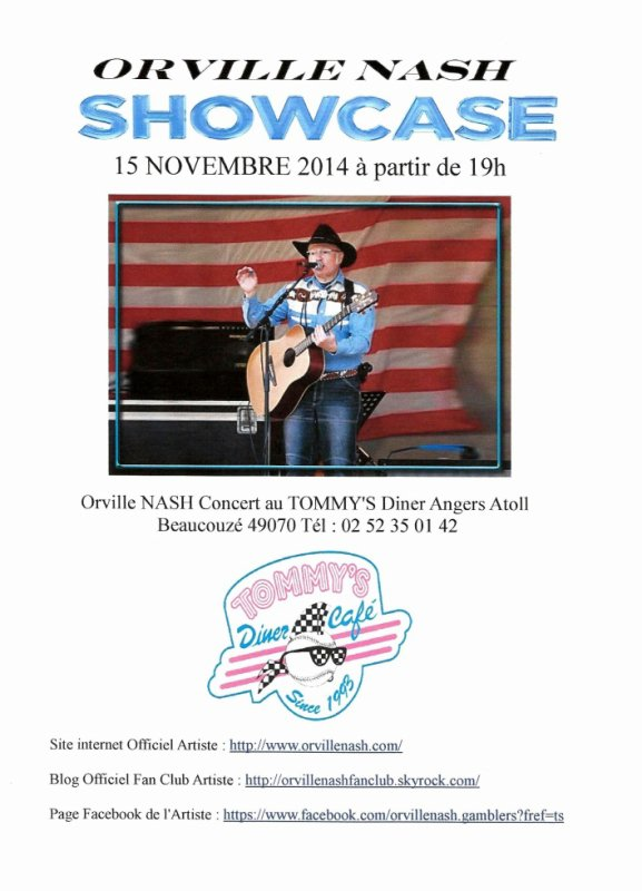 Orville NASH Showcase Concert au Tommy's Diner Angers