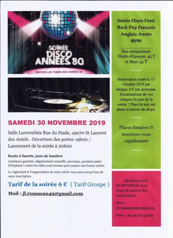 Soirée Année 80 le samedi 30 Novembre 2019