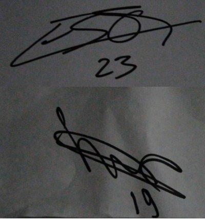 Les autographes de Diawara et Esor