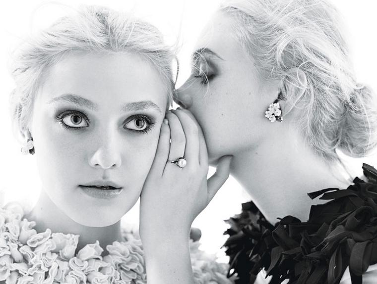 Dakota & Elle Fanning for W December 2011