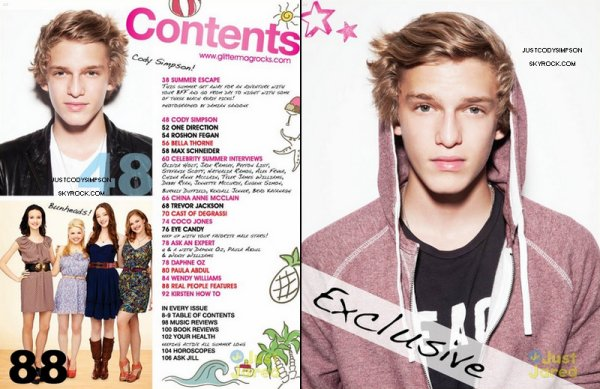____ Cody fait la couverture du Glitter magazine. + Cody a changé le background de son Twitter. ++ Photo Instagram. ____