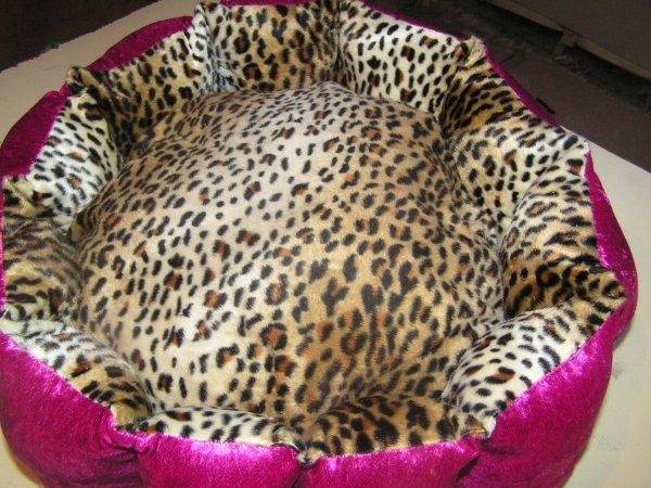 Panier velours rose et fausse fourrure léopard