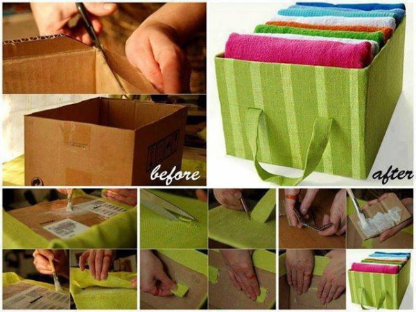 Customiser des boite en carton en rangement original