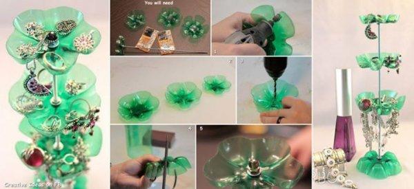 Avec des fond de bouteille en plastique créer des rangements pour vos bijoux mes amies
