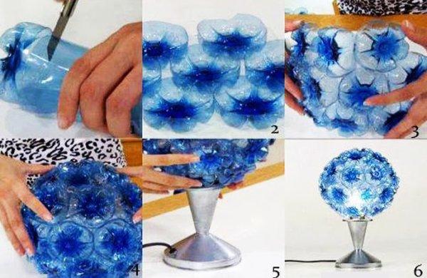 A partir de fond de bouteille en plastique créer des lampes original