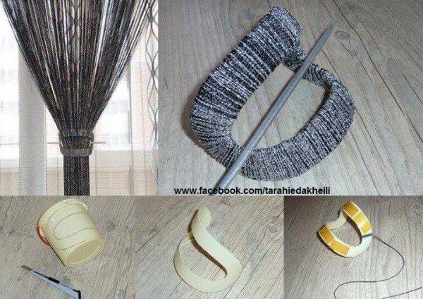 Une embrase pour vos tentures créer a partir d'une récup plastique et de la laine super non