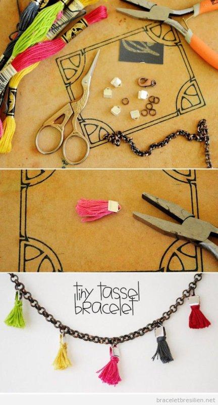DIY - Bracelet en chaine avec pompons.
