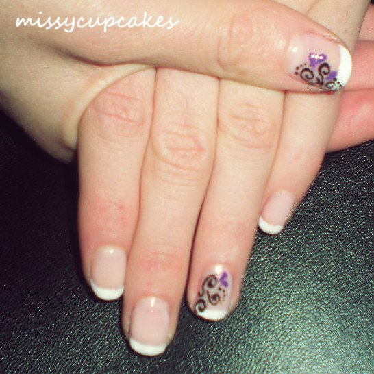 Nail Art French Manucure + spirales