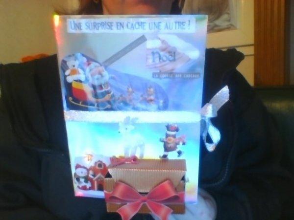 carte de noel avec petite boite contenant 4 chocolat belge differents pour la maitresse de mon fils de 7 ans