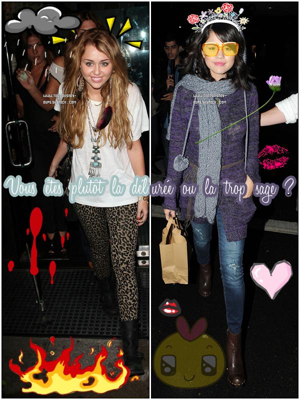 Vous êtes plutôt Miley la délurée ou Selena la sainte trop ... sage ?