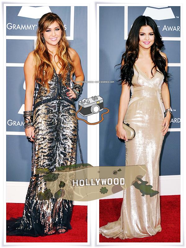 Sur le tapis rouge des Grammy Awards vous étiez plus Gomez ou Cyrus ?    Pour ma part, je les trouves toutes les deux magnifiques. Rien à redire. La robe de Miley est originale et la coiffure sympa, j'adhère à 100%. Pour Selena, la robe lui va absolument bien. Les longues robes moulantes la mettent vraiment en valeur. énorme top pour toutes les deux.