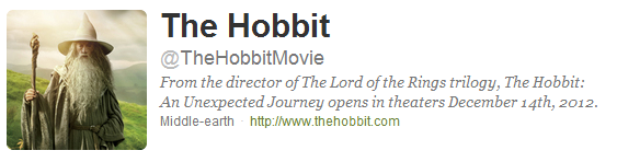 # The Hobbit :Le Compte Twitter officiel de The Hobbit maintenant disponible !