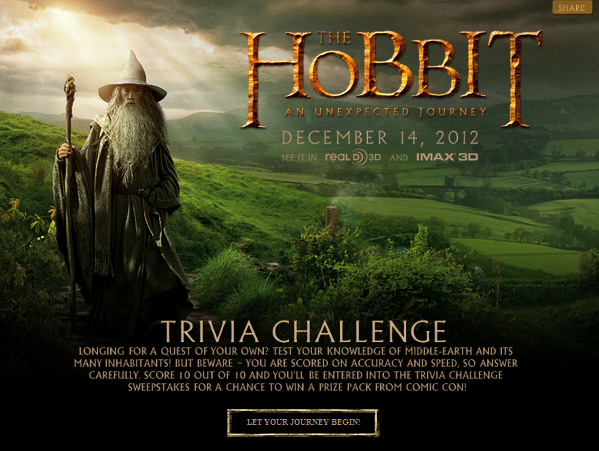# The Hobbit: Quizz Facebook - Tentez de gagner un prix du Comic-Con !