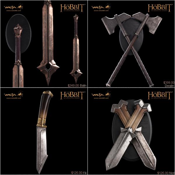 #TheHobbit :Les répliques des armes des nains par WETALes armes seront disponibles ici dès le mois d'Octobre