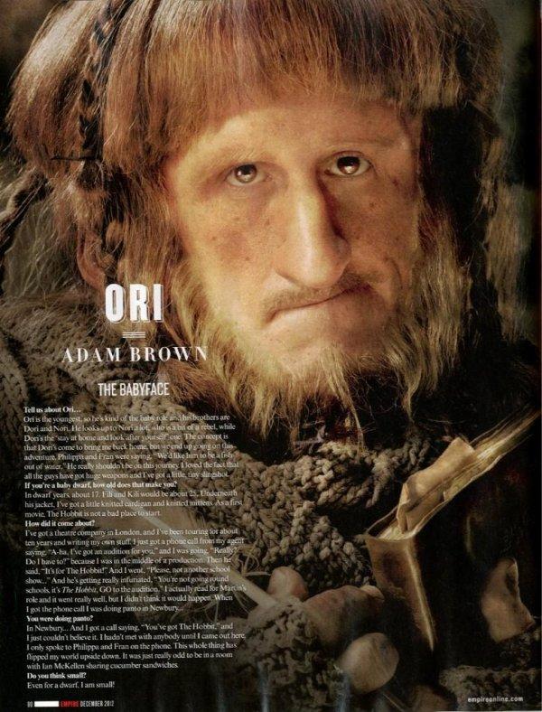 ■ [ The Hobbit ]  Adam Brown pour Empire MagazineIl est tellement beau notre Ori !
