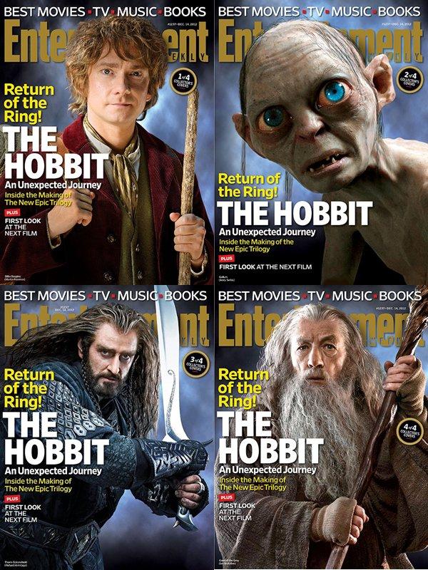 ■ [ Presse ]  The Hobbit fait la une de Entertainment Weekly !Le magazine américain propose ainsi quatre couvertures différentesBilbo, Gollum, Thorin et Gandalf. Laquelle préférez-vous?