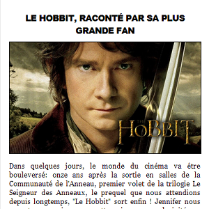 "■ [ Le Hobbit ]  Article pour ""LifeStyle-LeMag"""
