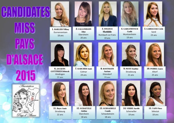 Candidates Miss Pays d'Alsace 2015