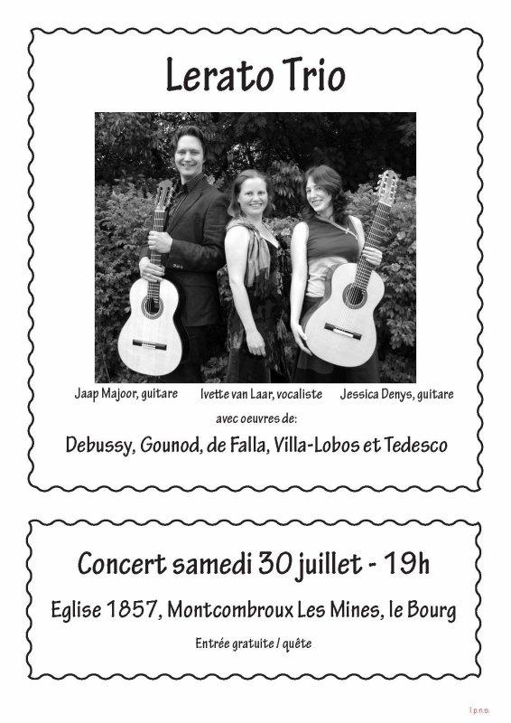 Concert Classique Montcombroux les Mines 30 juillet 19.00 h EGLISE 1857