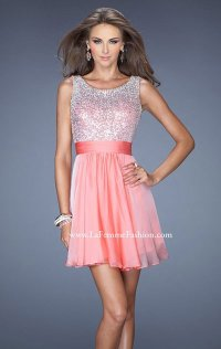 2014 Scoop-Neck La Femme Cap-Sleeves Short Lace Homecoming Dress