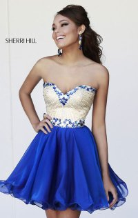 2014 Beaded Sherri Hill Chiffon Layered Bodice Short A-Line Cocktail Dresses
