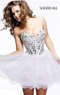 2015 Beaded Sherri Hill Layered Short Chiffon Bodice Homecoming Dresses