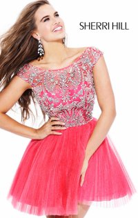 High-Neck Sherri Hill Pleated Short V-Back Homecoming Dresses 2015
