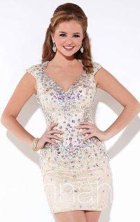 Hannah S V-Neck 2015 Cap Sleeves Short Lace Homecoming Dresses