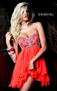 2015 Sherri Hill Strapless Jeweled Short Tulle Homecoming Dresses