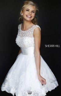 2014 Sherri Hill High-Neck Cap-Sleeves Short Tulle Homecoming Dress