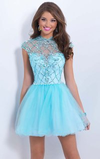 Beaded 2015 Sweetheart-Neck Short Lace Prom Dresses