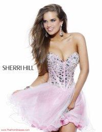 2015 Sherri Hill Sweetheart Short A Line Rhinestone Beaded Top Prom Dress