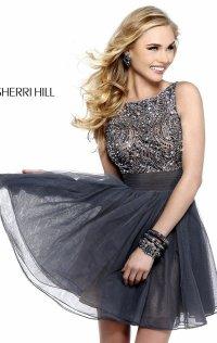 2015 Beaded Bows Strapless Sherri Hill Short Lace Prom Dresses