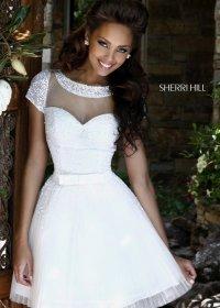 Sherri Hill Long Sleeves Lace Embellished Open Back Short Dress 2015