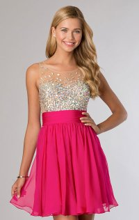 Open-Back Sleeveless Bodice 2015 Scoop-Neck Short Cocktail Dresses