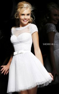 2015 Sherri Hill Strapless Beaded Short A-Line Chiffon Prom Dresses