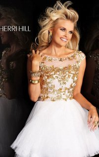 2015 Cap-Sleeves Sequin A-Line Short Tulle Homecoming Dresses