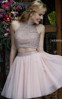 Beaded High-Neck Short Bodice Sheer Homecoming Dresses 2015 Two Piece