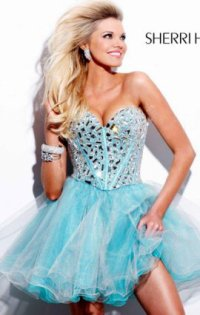 2014 Sweetheart-Neck Jeweled Tulle Short Prom Dresses