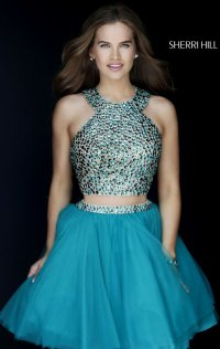 2015 Beaded Short Homecoming Dresses Short-Sleeves Two Piece Scoop Neck