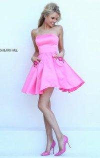 2016 Floral Strapless Bodice Short Prom Dresses