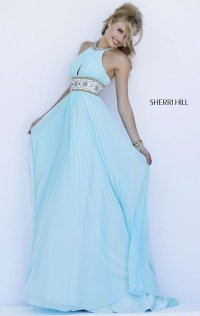 2015 Beaded Halter-Neck Pleated Long Evening Gown