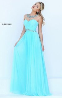 Beaded 2016 Boat-Neck Sheer Long Ruched Prom Dresses