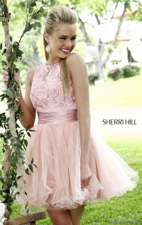 Cheap High-Neck Floral Lace Short Prom Dresses On Sale